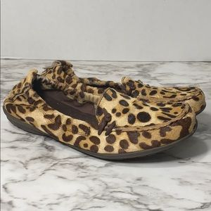 Hush puppies leopard leather calf hair flats